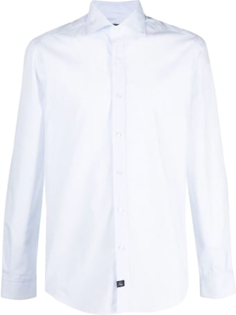 Fay Light Blue Cotton Stripe Print Shirt