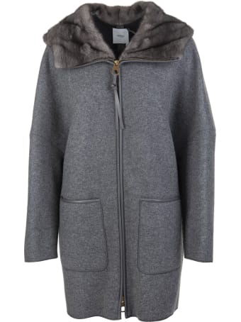 Agnona Woman Coat In Grey Cashmere With Fur