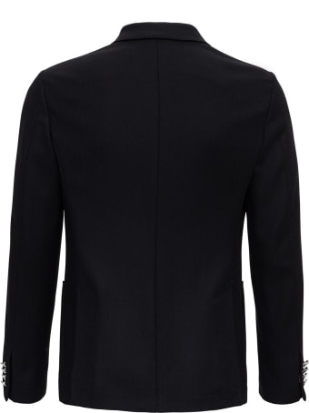 Tonello Double-breasted Blazer In Jerey Wool With Contrasting Buttons