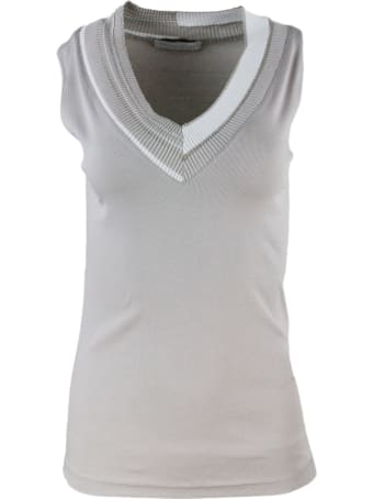 Fabiana Filippi V-neck Sleeveless T-shirt With Monili