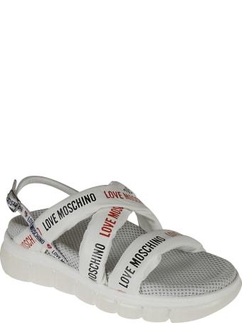Love Moschino Logo Strap Sling-back Sandals