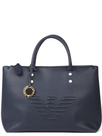 Emporio Armani Embossed Logo Blue Eco-leather Bag