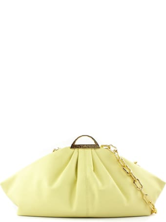 the VOLON Yellow Leather Gabi Clutch Bag