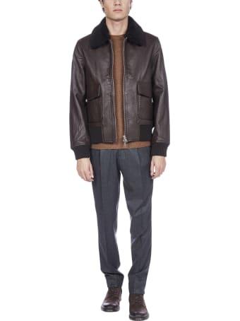 Officine Générale Jhon Leather Bomber Jacket