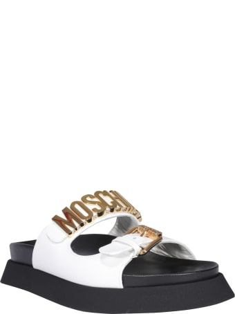 Moschino Logo Slide Sandals