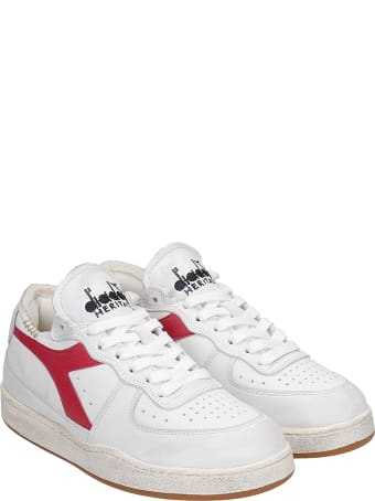 Diadora Mi Basket Row C Sneakers In White Leather