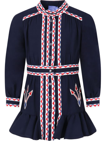Stella Jean Blue Dress For Girl With Arrows