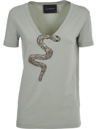 John Richmond Green T-shirt With Snake Embroidery