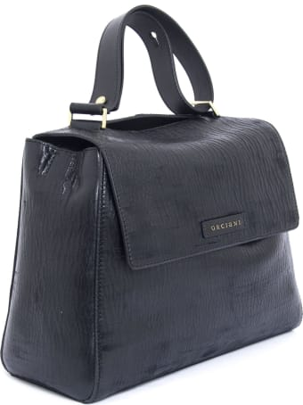 Orciani Black Leather Sveva Bag