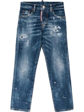 Dsquared2 Run Dan Worn-out Details Jeans