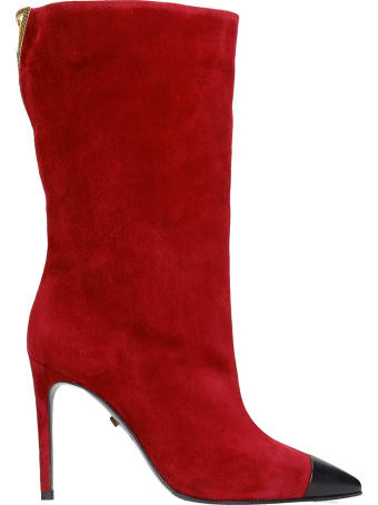 Grey Mer High Heels Ankle Boots In Bordeaux Suede