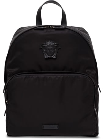 Versace Black Nylon And Leather Backpack With Logo
