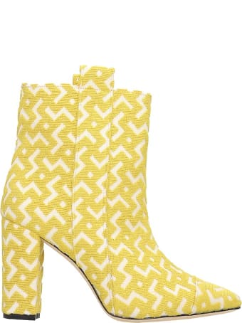 Bams Ankle Boots In Yellow Fabric
