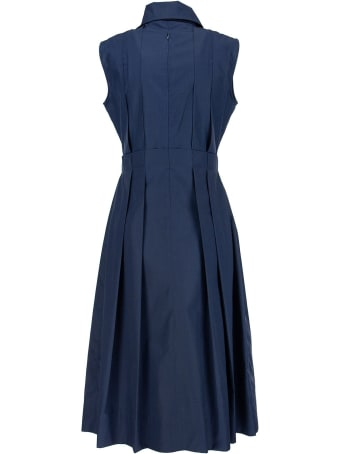 Marni Cotton Dress With Pleats Blue
