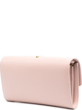 Pinko Love Crossbody Wallet In Pink Leather