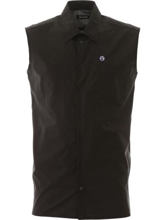 Raf Simons Sleeveless Shirt With Logo Embroidery