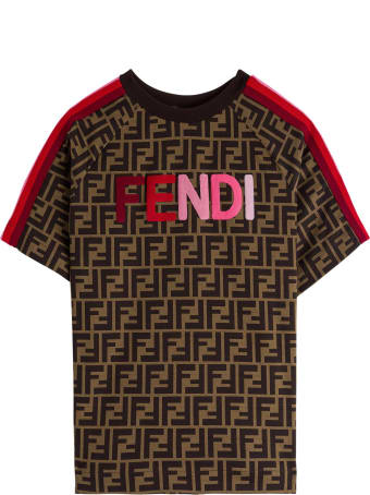Fendi Ff Cotton T-shirt With Logo Embroidery