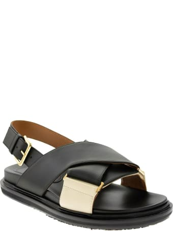 Marni Criss Cross Fussbett Sandal Black/white