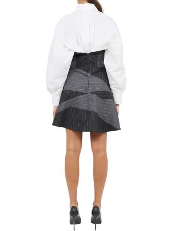 Vìen Pinstriped Bustier Dress