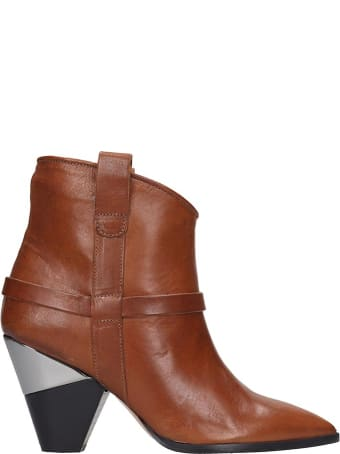 Alchimia Texan Ankle Boots In Leather Color Leather