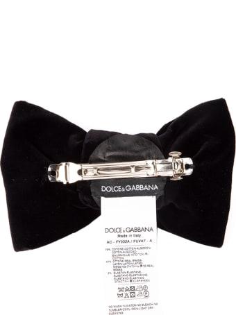 Dolce & Gabbana Black Velvet Bow Shaped Brooch