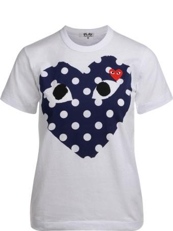 Comme des Garçons Play Women's White T-shirt With Blue Polka Dot Heart