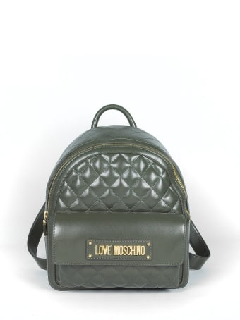 Love Moschino Quilted Eco-leather Signature Backpack