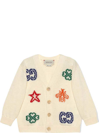 Gucci White Cardigan With Multicolor Print Young Versace