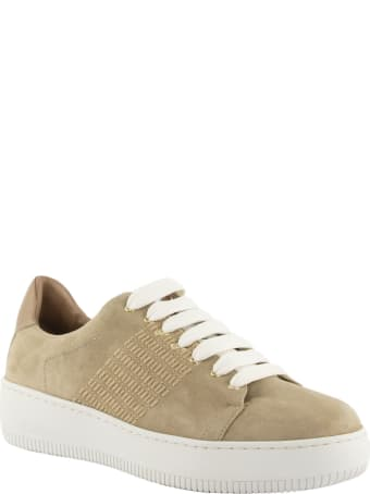 Agnona Suede Calf Leather Sneakers With Mohair Stitching
