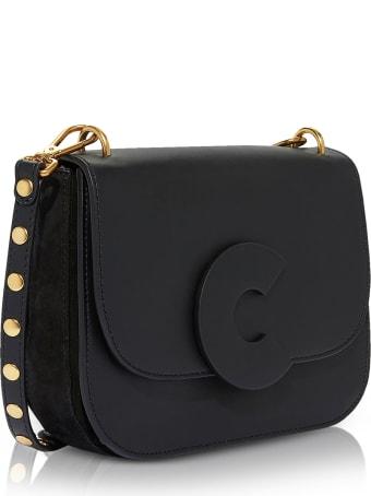 Coccinelle Craquante Rock Medium Shoulder Bag W/studded Shoulder Strap