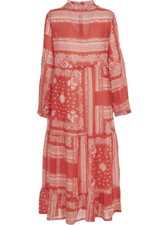 SEMICOUTURE Red And White Muslin Long Dress
