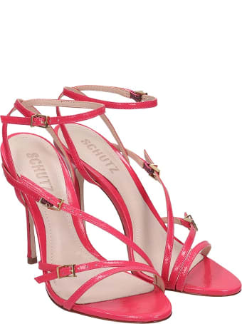 Schutz Sandals In Rose-pink Patent Leather
