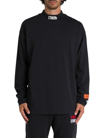 HERON PRESTON T-shirt Collo Alto A Maniche Lunghe Con Ctnmb Sul Collo