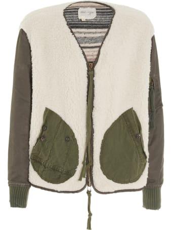 Greg Lauren 'sherpa Washed Satin Flight Jacket' Jacket