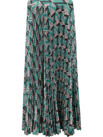 MSGM Long Printed Pleated Skirt