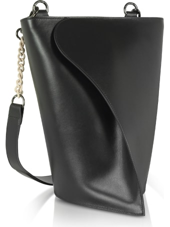 Giaquinto Black Layla Leather Shoulder Bag
