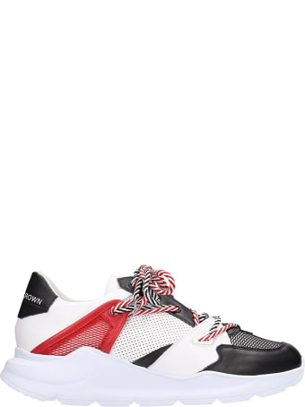 Leather Crown Red Black And White Leather Aero Sneakers