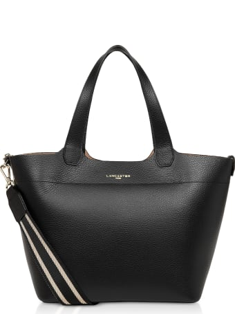 Lancaster Paris Foulonne Double Black Grained Cow Leather Tote Bag