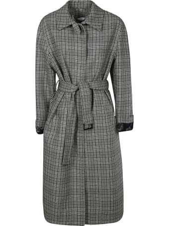 MSGM Check Belted Long Coat