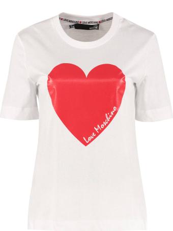 Love Moschino Logo Print Cotton T-shirt