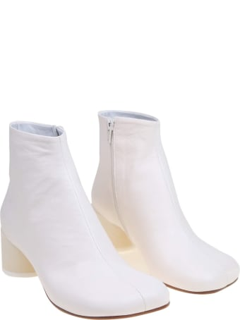 MM6 Maison Margiela White Leather Ankle Boot