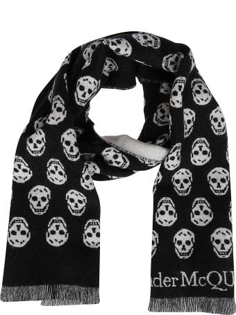 Alexander McQueen Black Wool Scarf