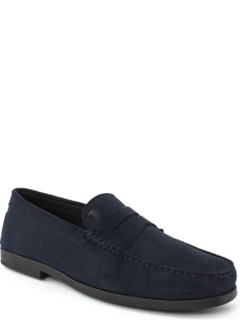 Tod's Loafers In Blue Suede