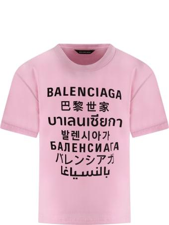 Balenciaga Pink T-shirt For Kids With Logos