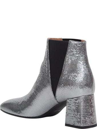 Pollini Silver Laminated Leather Bootie
