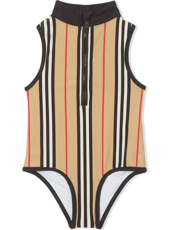 Burberry Beige Icon Stripe Zip-front Swimsuit