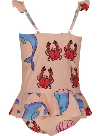 Mini Rodini Pink Swimsuit For Girl With Dolphins And Crabs
