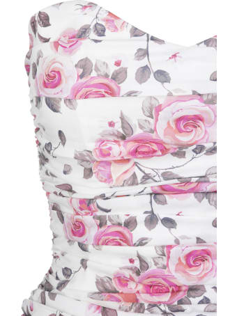Giuseppe di Morabito Draped Floral Sleeveless White Short Dress
