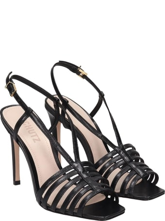 Schutz Sandals In Black Leather