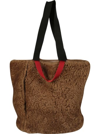 Plan C Fur Applique Shopper Bag
